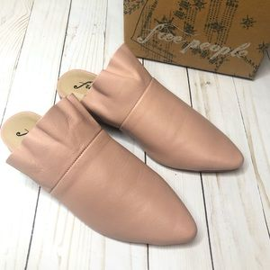 Free People Pink Leather Sienna Slip On Mules